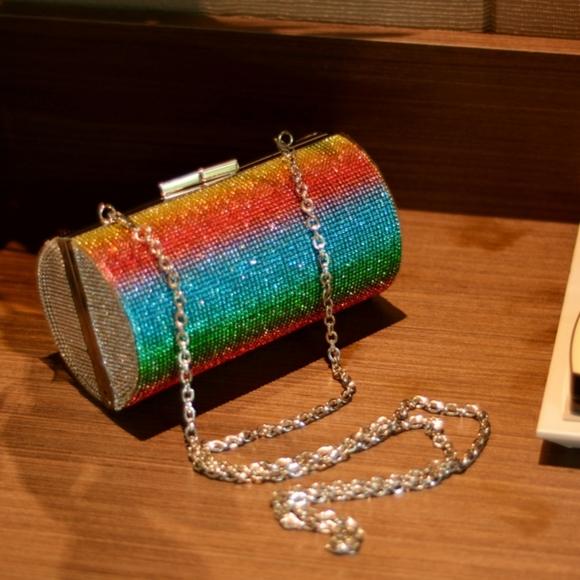 My Bag Lady Online Handbags - Rhinestone Rainbow Evening Clutch